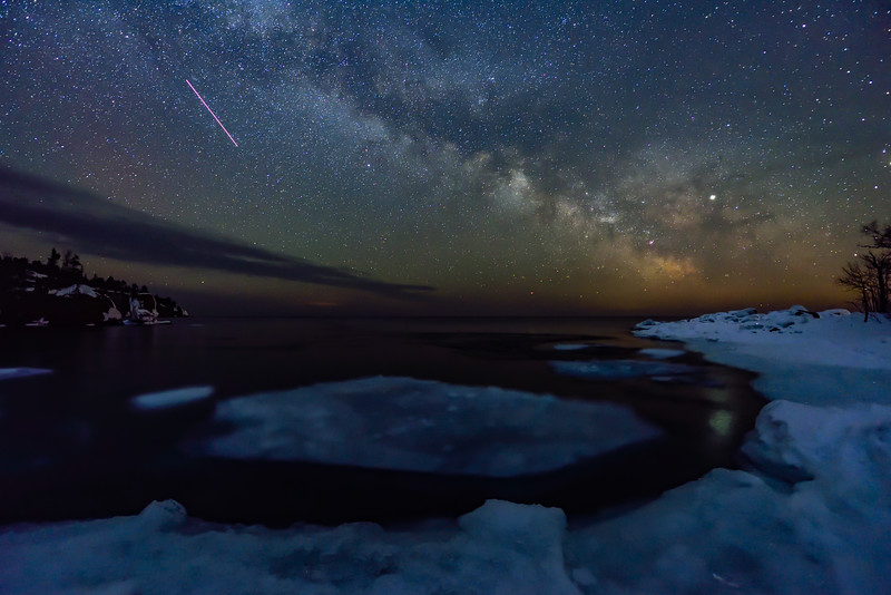 Milky Way and ISS over Tettegouche State Park