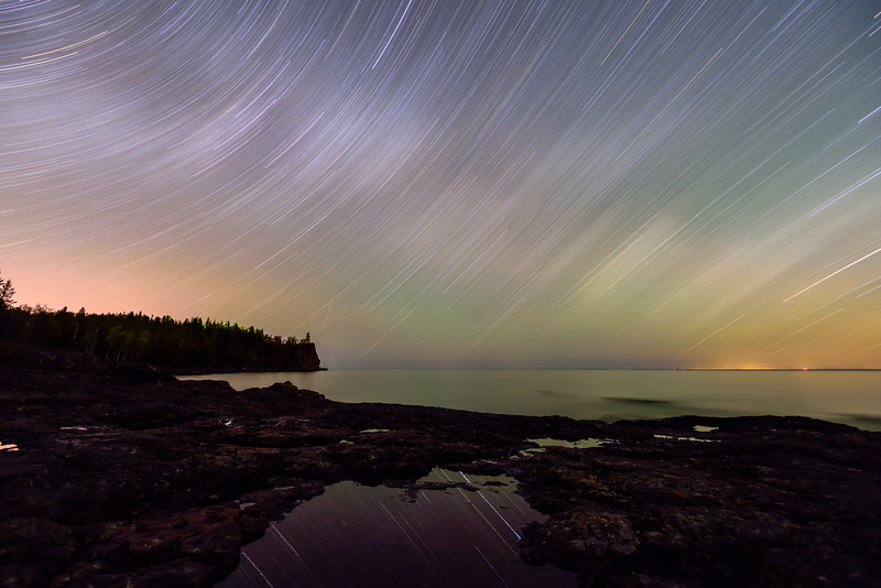 Star Trails over Split Rock Lighthouse 01
