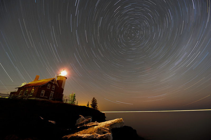Star Trails over Eagle Harbor Lighthouse