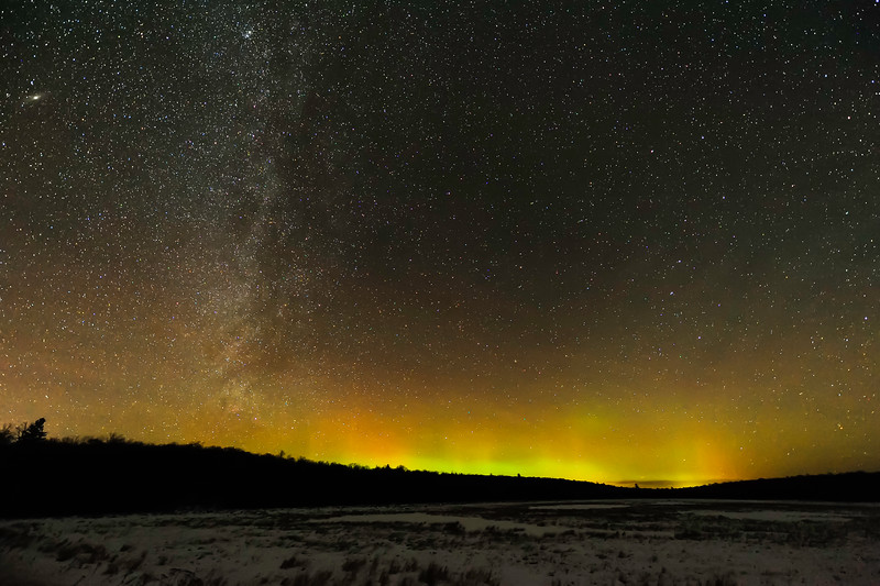 Aurora, Milky Way, and Andromeda Galaxy