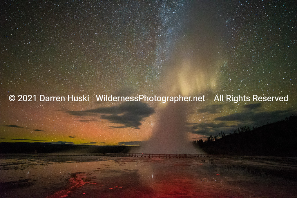 Excelsior Geyser Milky Way and Northern Lights