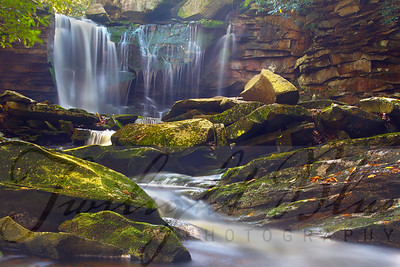 """Elakala Falls Magic""  Sitting in the stream below the 40 foot cascade of Elakala Falls in Blackwater Falls State Park, West Virginia is a magical experience. The sound of the water rushing overpowers all other sounds taking you into a world all of your own. The image was captured using High Dynamic Range (HDR) with a Canon 7D and 16-35mm lens."