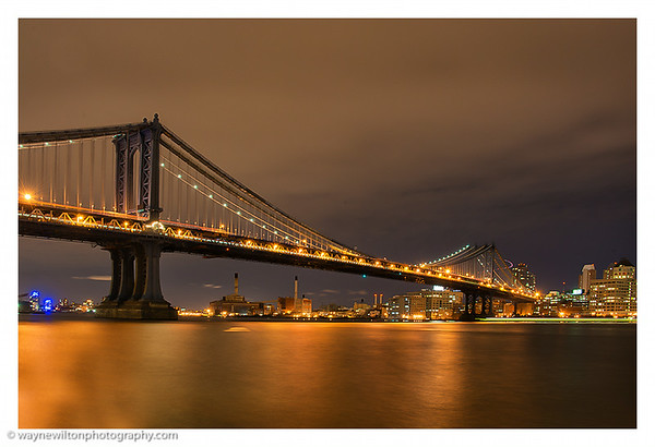 The Manhattan Bridge at night