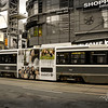 A Toronto streetcar waits to cross Yonge Street at Dundas