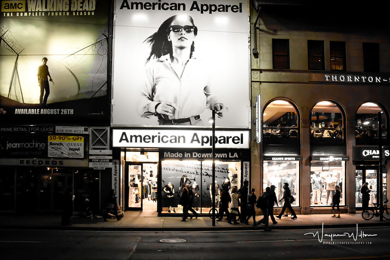The soon to be closed (2017) American Apparel  on Yonge St in Toronto .