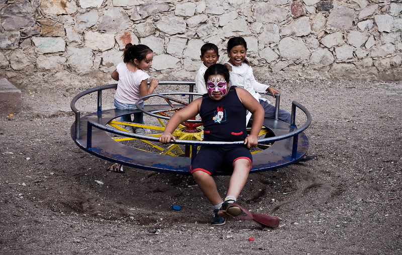 Children play in Guanajuato, Mexico during the annual Miner's festival.