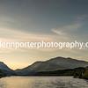 Llyn Padarn, Llanberis Pass and Snowdon at sunrise, North Wales.