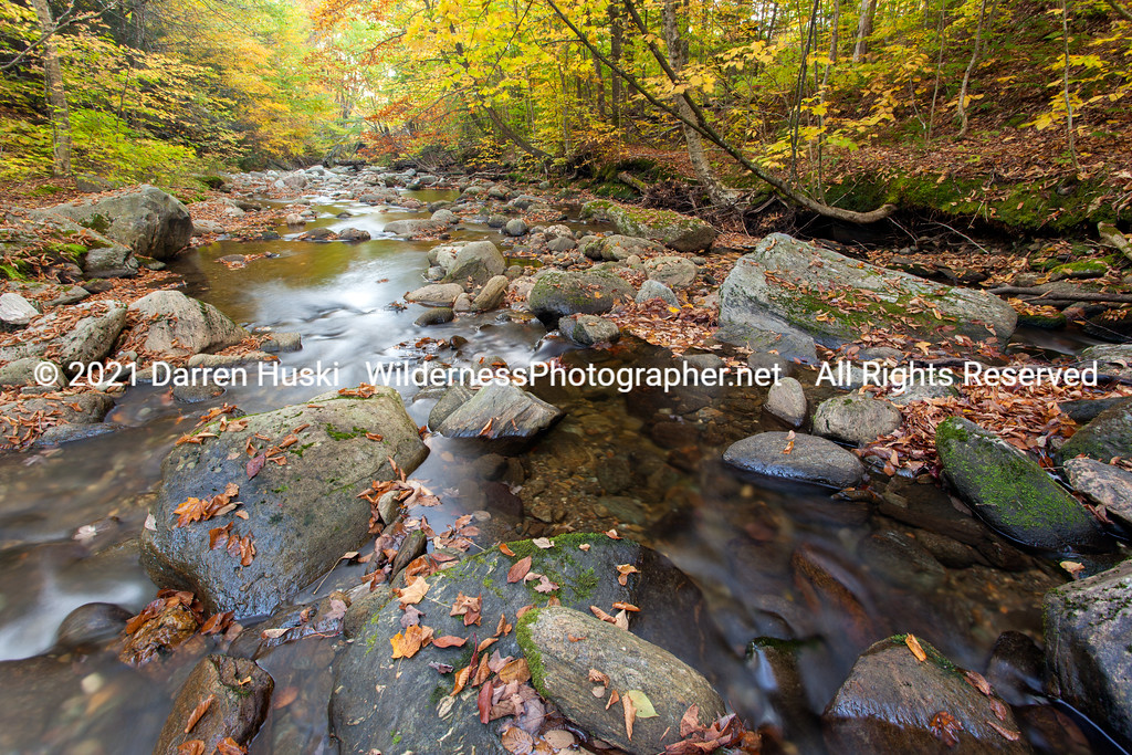 Stream in the Vermont autumn woods.