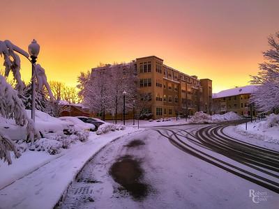 Fiery Winter's Sunset in Oak Grove