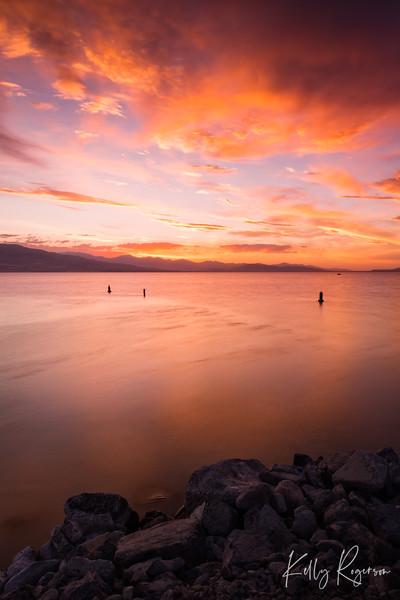 Never Ending Fire - Utah Lake Sunset