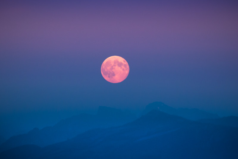 Blood Moonrise Over North Cascades