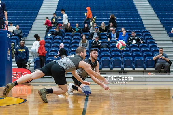 TORONTO, CANADA - Feb 22: during OCAA Volleyball Provincial Championship Game 5 Consolation Semifinal Coyotes LaCite vs Conestoga Condors at Humber Hawks Athletics Center. Photo: Michael Fayehun/F10 Sports Photography