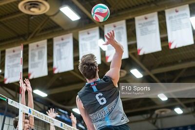 TORONTO, CANADA - Feb 22: during OCAA Volleyball Provincial Championship Game 5 Consolation Semifinal Coyotes LaCite vs Conestoga Condors at Humber Hawks Athletics Center. Photo: Michael Fayehun/F10 Sports Photography