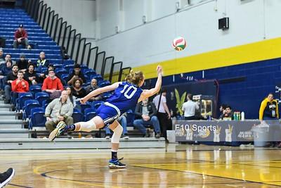 TORONTO, CANADA - Feb 21: during OCAA Volleyball Provincial Championship game 4 between Game 4 - NO. 11 GEORGIAN GRIZZLIES MEN'S VOLLEYBALL VS NIAGARA KNIGHTS at Humber Hawks Athletics Center. Photo: Michael Fayehun/F10 Sports Photography