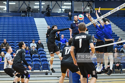 TORONTO, CANADA - Feb 23: during OCAA Men's Volleyball Championship Game 9 Consolation Final Georgian Grizzles vs Conestoga Condors at Humber Hawks Athletic Center. Photo: Michael Fayehun/F10 Sports Photography