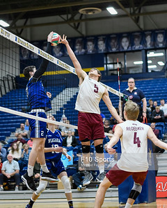 TORONTO, CANADA - Feb 23: during OCAA Men's Volleyball Championship Game 10 Bronze Medal Game Redeemer Royals vs Niagara Knights at Humber Hawks Athletic Center. Photo: Michael Fayehun/F10 Sports Photography