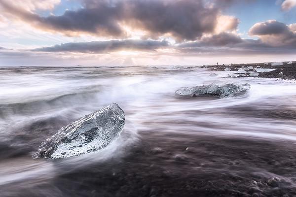 Diamonds on the beach, Jokulsarlon, Iceland