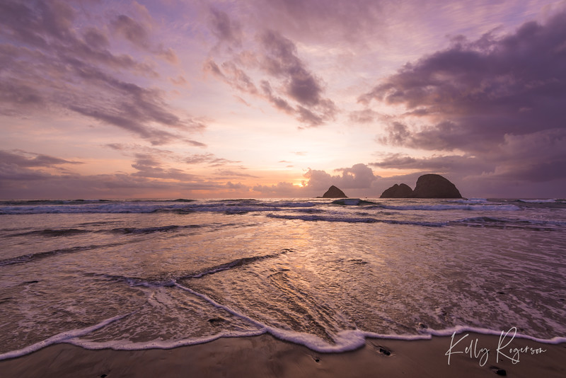 Oceanside, Oregon. Although it was mid autumn, you'd expect the water here to be too cold to stand in, but something about it this one evening just made it a bit warmer than expected. Standing on the beutiful beach, letting the waves come in and flow over my feet surrounding me in water, was an evening of feeling so connected with nature. Feeling nature change and move all around, something so beautiful and yet powerful about the movement of the ocean water and waves.