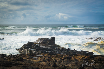 Rolling waves - coming in to the shore in Yachats, Oregon.