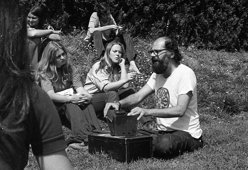 Allen Ginsberg reading and chanting in Sunken Gardens at William & Mary