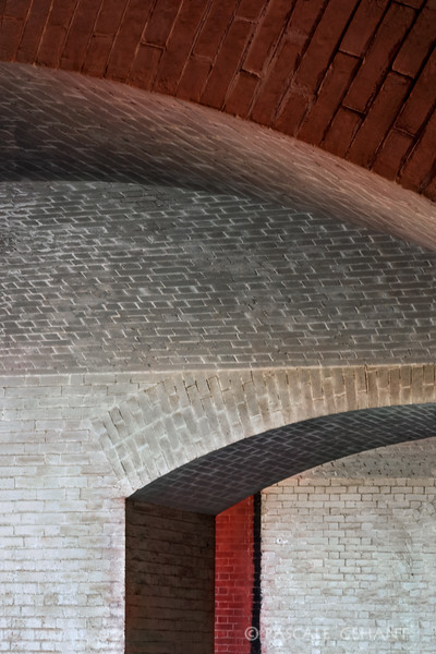 Red and white arches- Fort Point