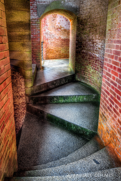 Old stone steps in tower- Fort Point