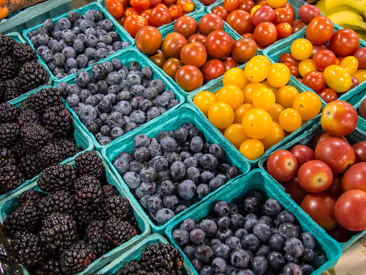 Containers of Fresh Fruit & Vegetables at a Farmer's Market