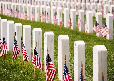 Remembering the Fallen Military with Flags on Memorial Day