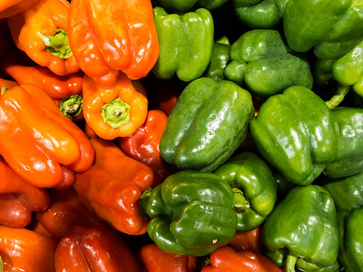 Fresh Sweet Peppers for Sale in a Farmer's Market