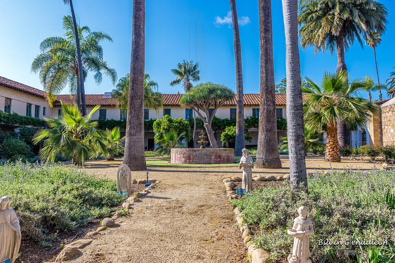 Inner courtyard of Mission Santa Barbara.