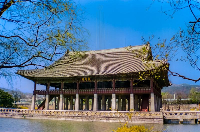 Gyeonghoeru Pavilion with lake.