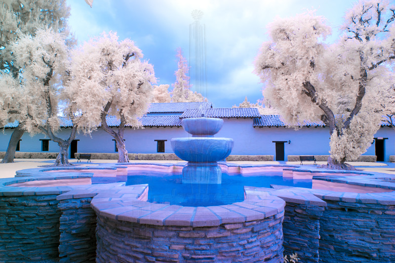 Mission garden fountain in infrared.
