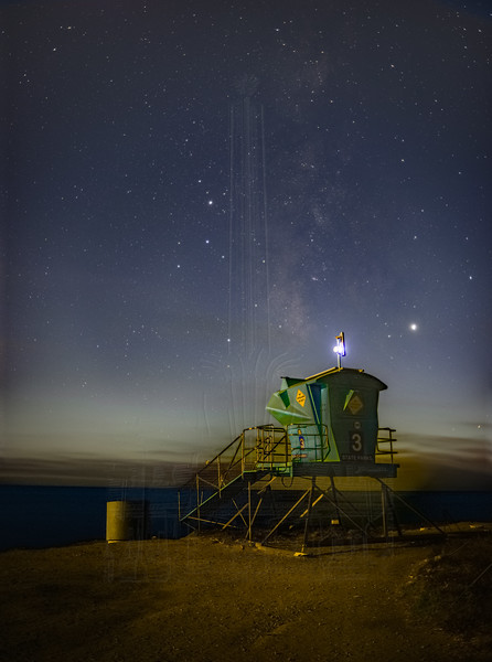 Milky Way and Moonlit Lifeguard Station.