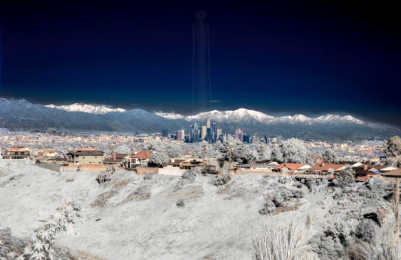 Downtown LA in IR  with snowcapped San Gabriels(IR).