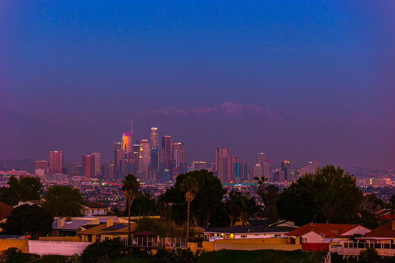 Lights of downtown LA in blue hour.