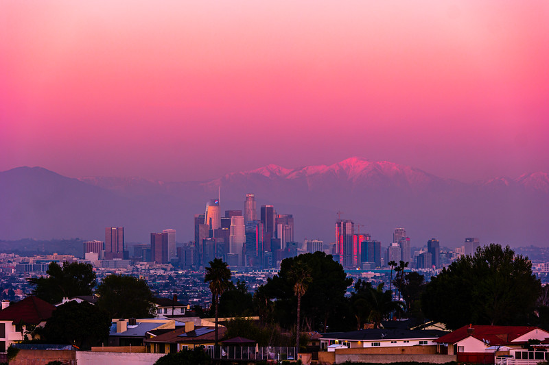 Downtown LA and San Gabriels at the end of golden hour.