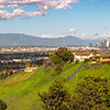Downtown LA panorama with snowcapped San Gabriels.