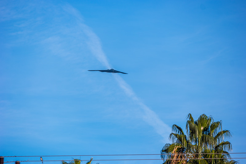 B-2 Bomber approaching from the northwest.