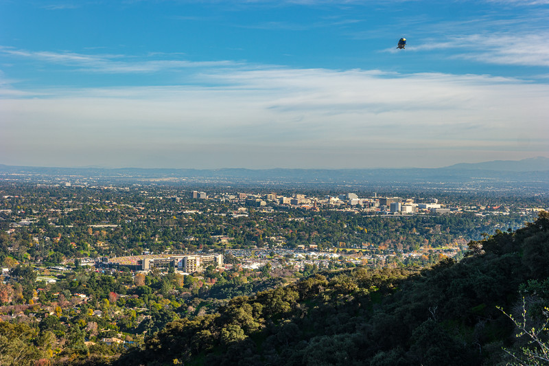Wide shot of the Rose Bowl and Pasadena with Saddleback at the right.