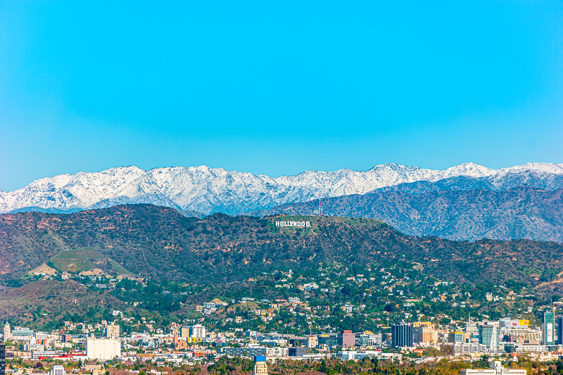 Hollywood Sign with snowy backdrop.