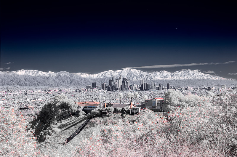 IR view of downtown LA and snowy San Gabriels.