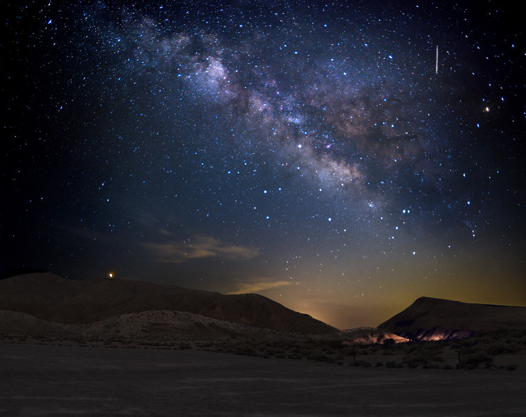 The Milky Way with a meteor at Red Rock.