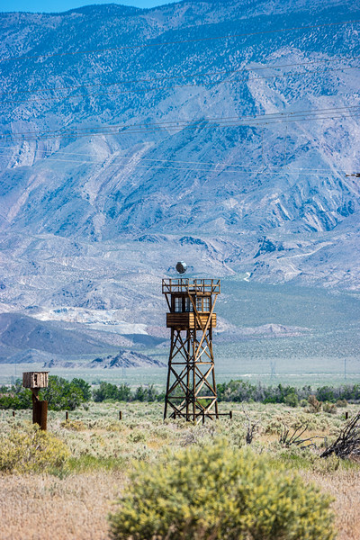 Guard tower against the Inyo Mountains.