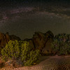 """Panorama of the Milky Way arch at Live Oak Tank with two Joshua Trees at the left.  You can see the rock they call """"Popehat"""" just to the left of the oak tree."""