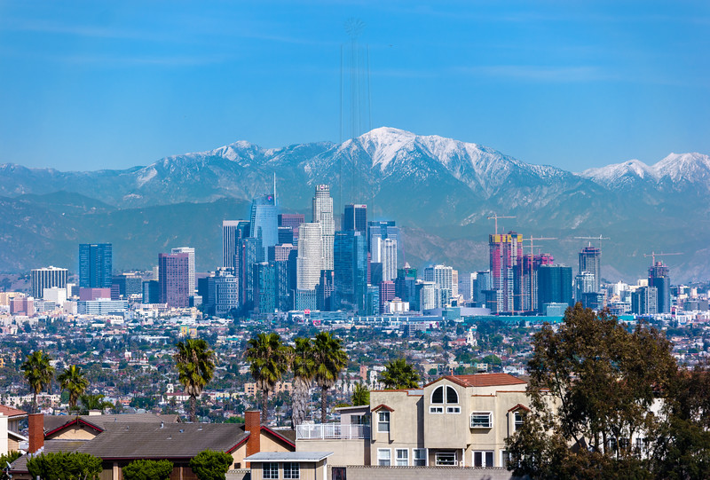 Closer view of Downtown Los Angeles and Mt. San Antonio.