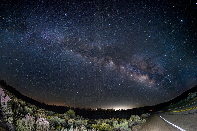 Milky Way on the Boy Scout Camp Road in Lockwood Valley.(Fisheye)