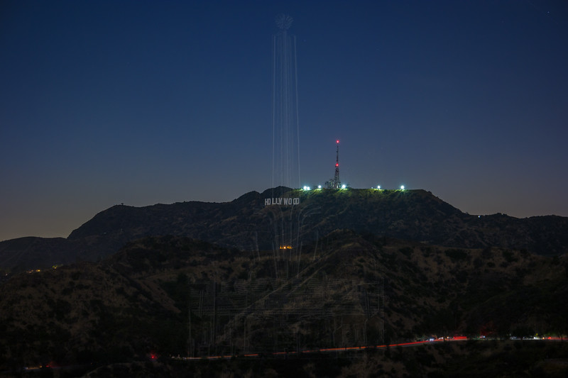 Hollywood Sign after dark.