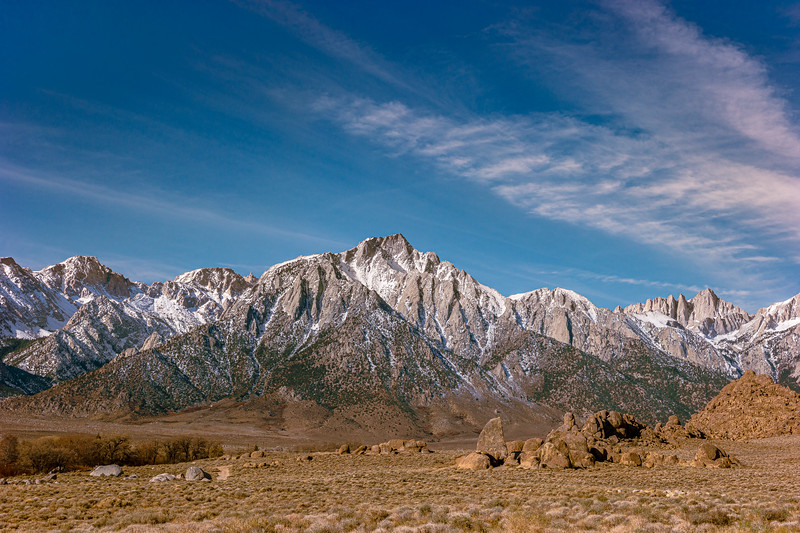 Lone Pine Peak and Mt. Whiney from the Alabama Hills.