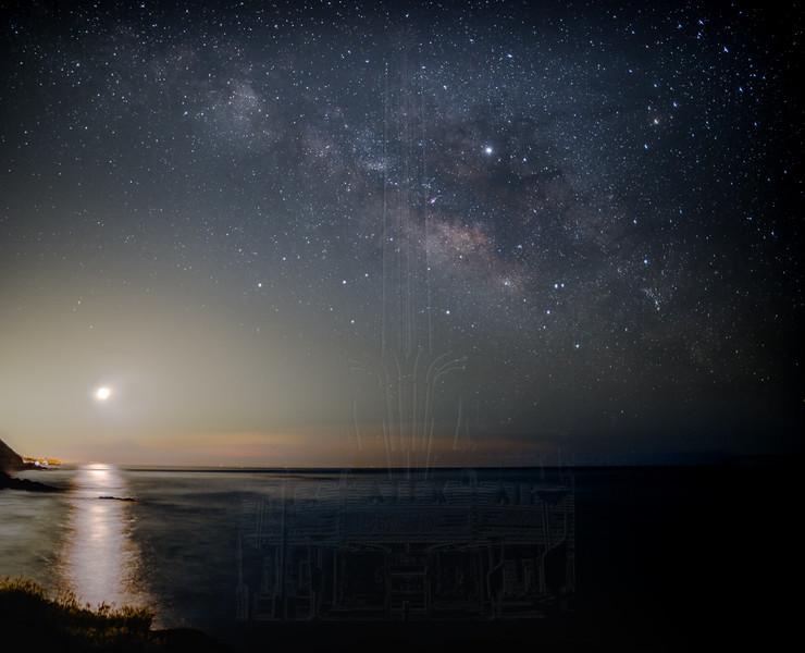 Moon and Milky Way at Twin Bush