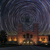 Royce Hall Startrails, the sky was shot at Fossil Falls and light pollution along the horizon was added in.